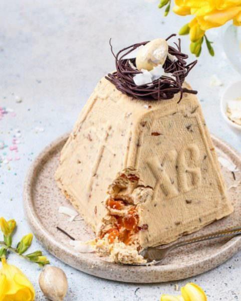 Рецепт приготування сирної (творожної) Паски з курагою, горіхами та згущеним молоком.